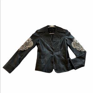 Sheri Bodell Lamb Leather Embroidered Blazer